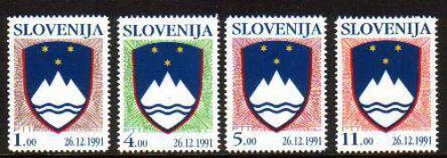 Definitives, state coat of arms 4v; Year: 1991