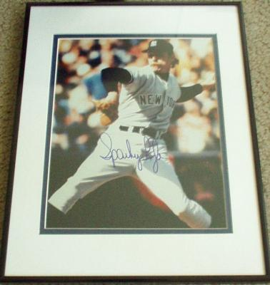 Sparky Lyle autographed 8x10 Yankees photo matted &amp; framed