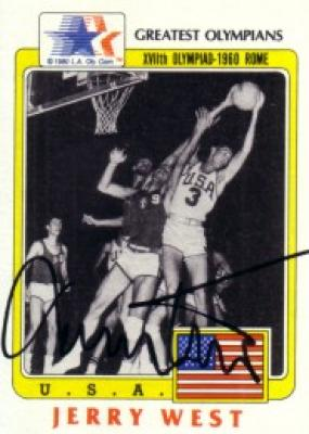 Jerry West autographed 1983 Topps Greatest Olympians card