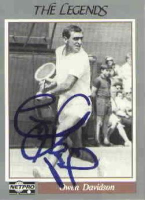 Owen Davidson autographed Netpro Legends tennis card