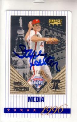 Steve Carlton autographed Philadelphia Phillies 1996 MLB All-Star FanFest media credential