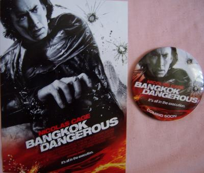 Bangkok Dangerous movie promo 5x7 card & button/pin (Nicolas Cage)