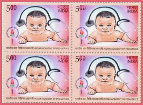 INDIA MNH BLOCK OF 4 , 50 years of Indian Academy of Pediatrics Medical Theme