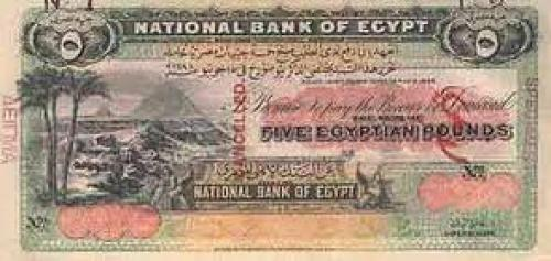 Banknotes; A Five Pound Egyptian Bank Note Issued on January 10th, 1899