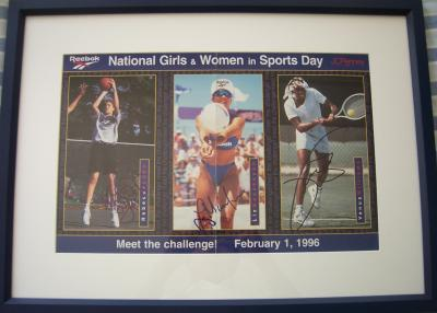 Rebecca Lobo Liz Masakayan Venus Williams autographed mini poster matted &amp; framed