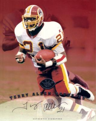 Terry Allen certified autograph Washington Redskins 1997 Leaf 8x10 photo card