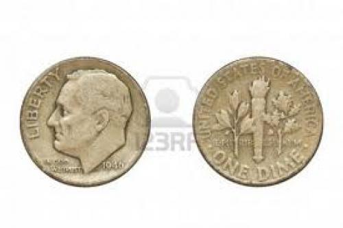 Coins; Old coin produced in 1946 in USA - one dime, front and rear view