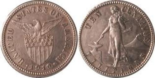 Coins; 1910 ten centavos; USA coin; Filipinas