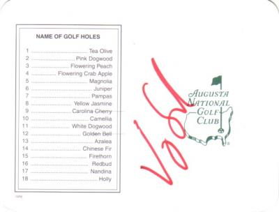 Vijay Singh autographed Augusta National Masters scorecard