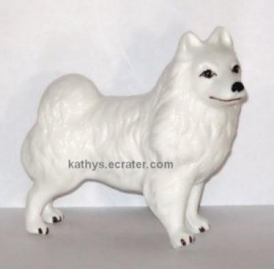 Bone China White Samoyed Dog Animal Figurine