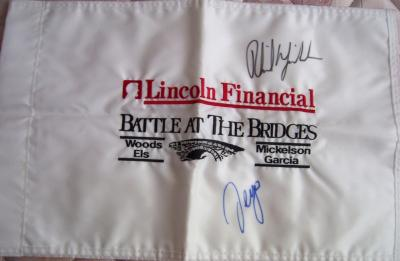 Phil Mickelson &amp; Sergio Garcia autographed 2003 Battle at the Bridges flag