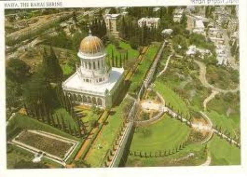 Postcard; Nice aerial view of Bahai Shrine and its garden in Haifa; Israel