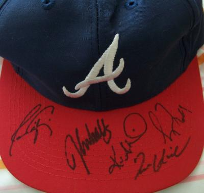 Atlanta Braves cap autographed by Tom Glavine Javy Lopez Greg Maddux Kevin Millwood John Smoltz