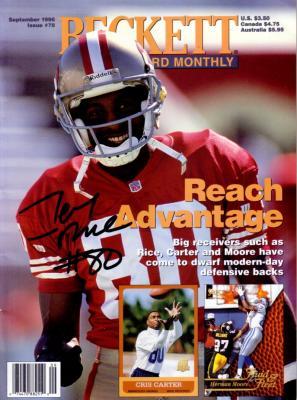 Jerry Rice autographed San Francisco 49ers Beckett Football magazine