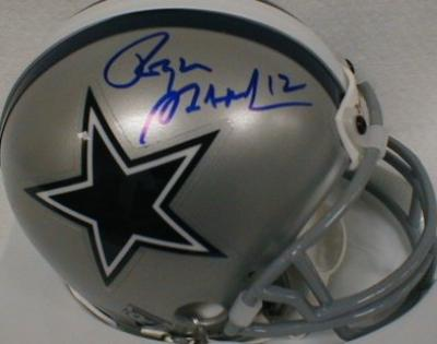 Roger Staubach autographed Dallas Cowboys mini helmet