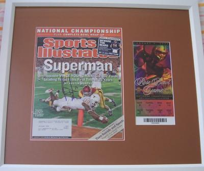 Vince Young autographed Texas 2005 National Championship SI cover framed with 2006 Rose Bowl ticket