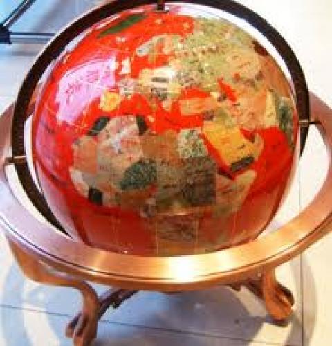 Antiques globe; Gemstone world globe bronze table stand red map