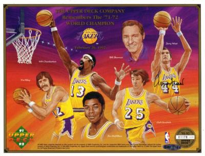 Jerry West autographed 1971-72 Los Angeles Lakers commemorative sheet (UDA)