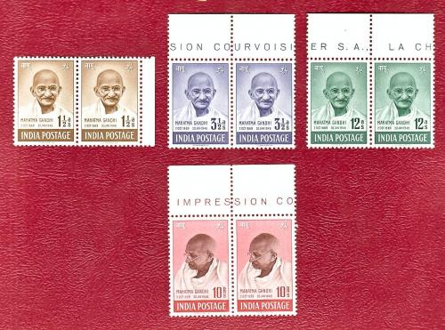 INDIA 1948 MAHATMA GANDHI SET IN PAIRS MINT NEVER HINGED