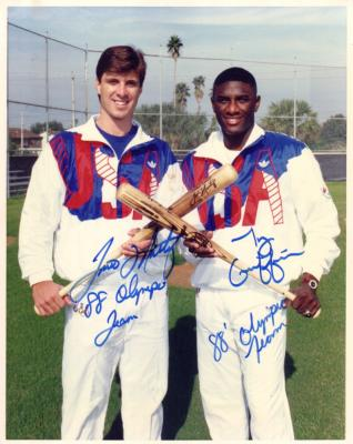 Tino Martinez & Ty Griffin autographed 8x10 photo inscribed 88 Olympic Team