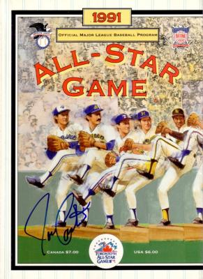 Joe Carter autographed 1991 MLB All-Star Game program