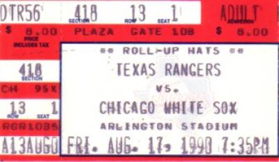 Carlton Fisk 1990 Chicago White Sox Home Run Record ticket stub