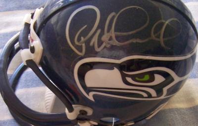 Pete Carroll & Matt Hasselbeck autographed Seattle Seahawks mini helmet