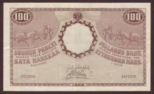 Paper Money Finland Russia 100 markkaa - 1909 issue