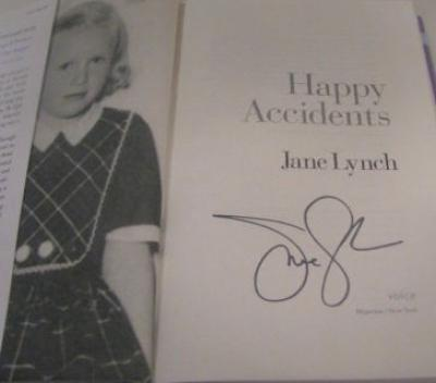 Jane Lynch autographed Happy Accidents hardcover book