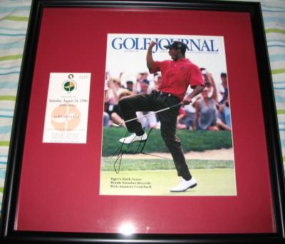 Tiger Woods autographed 1996 U.S. Amateur magazine cover framed with ticket