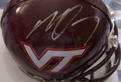 Michael Vick autographed Virginia Tech mini helmet