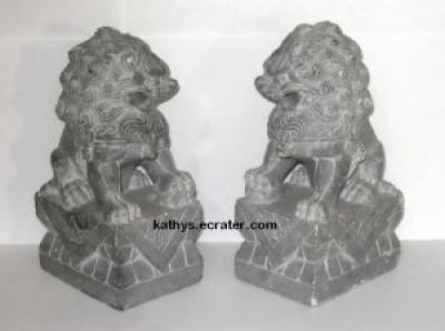 Bookends: Pier 1 Chinese Fu Foo Lions Gray Tumbled Marble Bookends