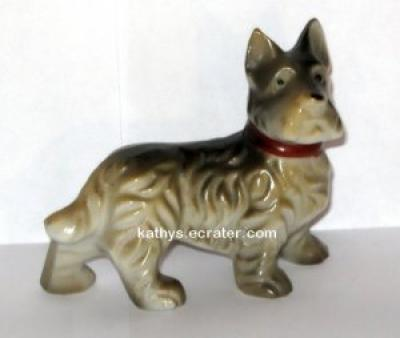 Japan Gray Terrier Red Collar Dog Animal Figurine