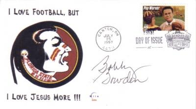 Bobby Bowden autographed Florida State cachet Pop Warner First Day Cover