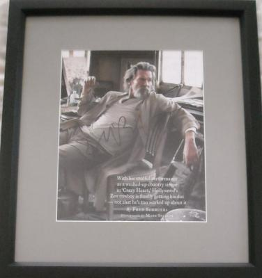Jeff Bridges autographed full page magazine photo matted &amp; framed