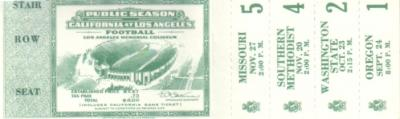 1937 UCLA football season tickets PRISTINE MINT
