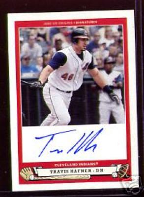 Travis Hafner certified autograph Indians 2005 Upper Deck Origins card