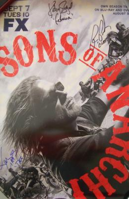 Kim Coates Ron Perlman Katey Sagal autographed Sons of Anarchy 2010 poster