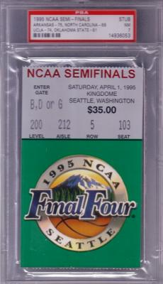 1995 NCAA Final Four Semifinals ticket PSA 7 (UCLA & Arkansas Win)