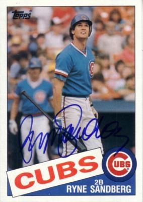Ryne Sandberg autographed Chicago Cubs 1985 Topps 5x7 jumbo card
