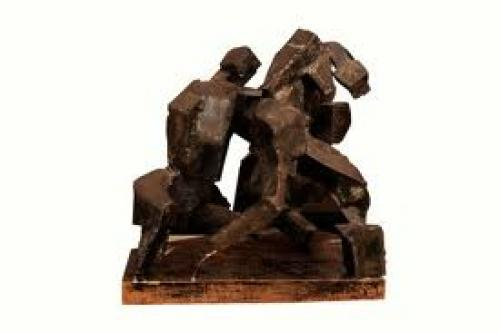 1970's Brutalist steel sculpture on original wood block base