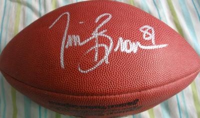 Tim Brown autographed NFL game football