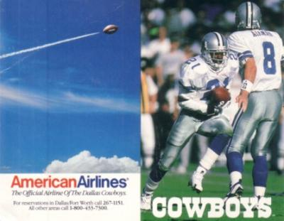Troy Aikman &amp; Deion Sanders 1996 Cowboys pocket schedule