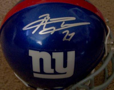 Brandon Jacobs & Amani Toomer autographed New York Giants mini helmet