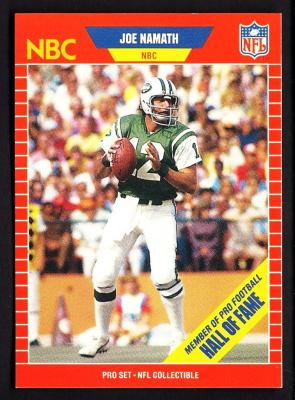 Joe Namath 1989 Pro Set Announcers card