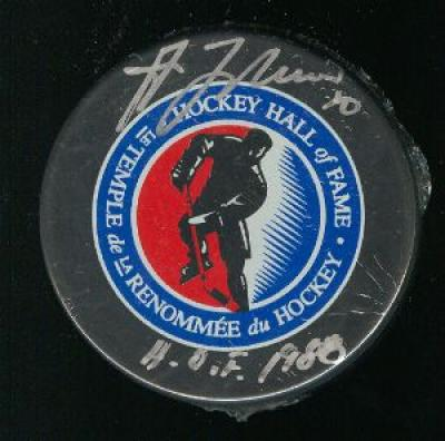 Guy Lafleur autographed Hockey Hall of Fame logo puck