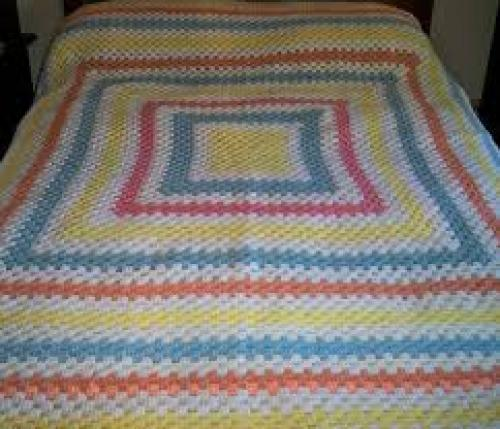 Vintage Crocheted Pastel Bed