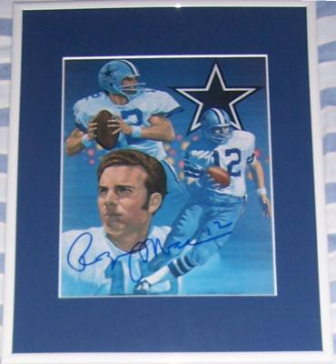 Roger Staubach autographed Dallas Cowboys 8x10 art print matted & framed