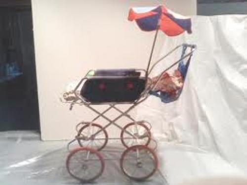 Dolls; Vintage German Child's Baby Doll Buggy