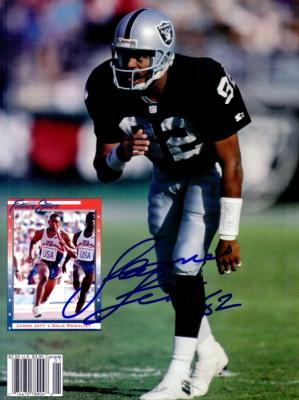 James Jett autographed Oakland Raiders Beckett Football back cover photo